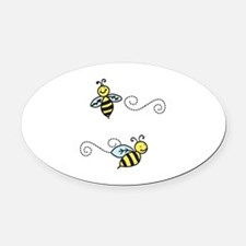 Bees Oval Car Magnet