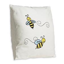 Bees Burlap Throw Pillow