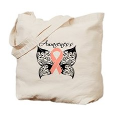 Uterine Cancer Butterfly Tote Bag