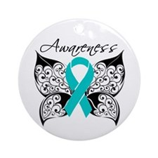 Ovarian Cancer Butterfly Ornament (Round)