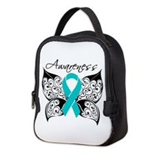 Ovarian Cancer Butterfly Neoprene Lunch Bag