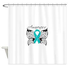 Ovarian Cancer Butterfly Shower Curtain