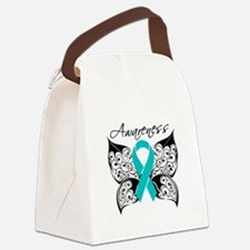 Ovarian Cancer Butterfly Canvas Lunch Bag