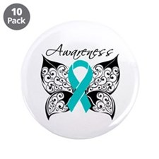 "Ovarian Cancer Butterfly 3.5"" Button (10 pack)"