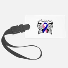 Male Breast Cancer Butterfly Luggage Tag