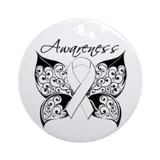Lung Cancer Butterfly Ornament (Round)
