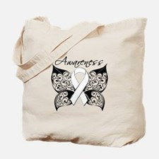 Lung Cancer Butterfly Tote Bag
