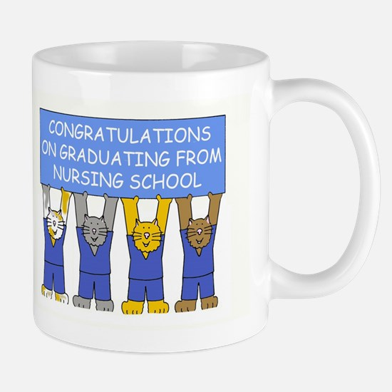 Nursing school graduate congratulations. Mugs