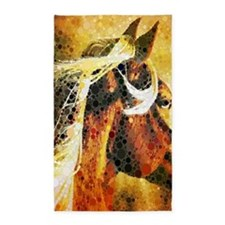vintage horse abstract farm art 3'x5' Area Rug