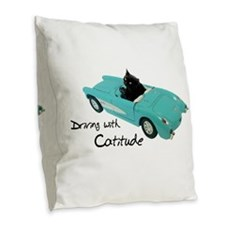 Driving with Catitude Burlap Throw Pillow