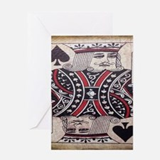 distressed poker king card Greeting Cards