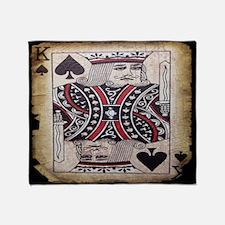 distressed poker king card Throw Blanket