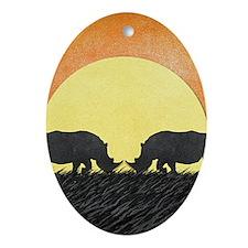 African Rhinos Ornament (Oval)