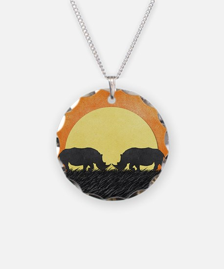 African Rhinos Necklace