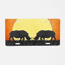 African Rhinos Aluminum License Plate