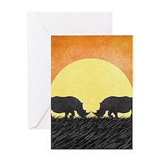 African Rhinos Greeting Cards