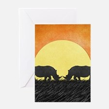African Rhinos Greeting Cards