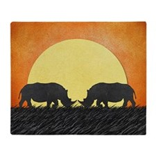 African Rhinos Throw Blanket
