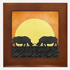 African Rhinos Framed Tile