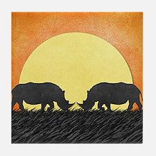 African Rhinos Tile Coaster