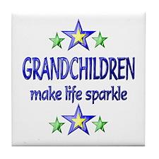 Grandchildren Sparkle Tile Coaster