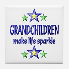 Grandchildren Sparkle Tile Coaster