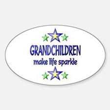 Grandchildren Sparkle Sticker (Oval)