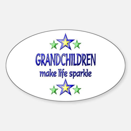 Grandchildren Sparkle Sticker (Oval)