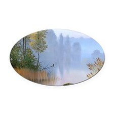 Lake Painting Oval Car Magnet