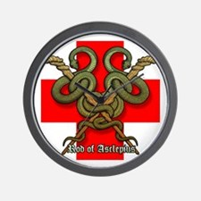 Rod of Asclepius4 Wall Clock