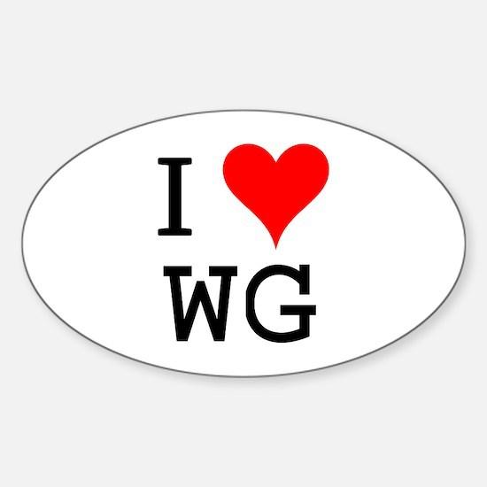 I Love WG Oval Decal