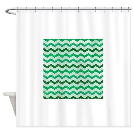Modern Emerald Green Multi Chevron Shower Curtain By YourPerfectHome