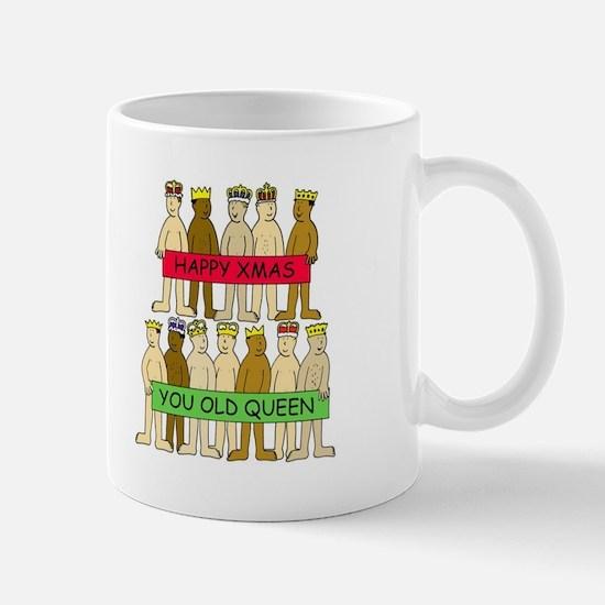 Naked men wearing crowns, Xmas Queens. Mugs