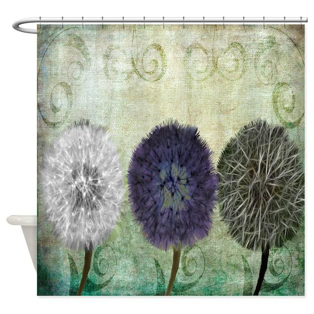 Digital Study Of Dandelions Shower Curtain By Naturessolbathitems
