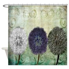 Digital Study of Dandelions Shower Curtain