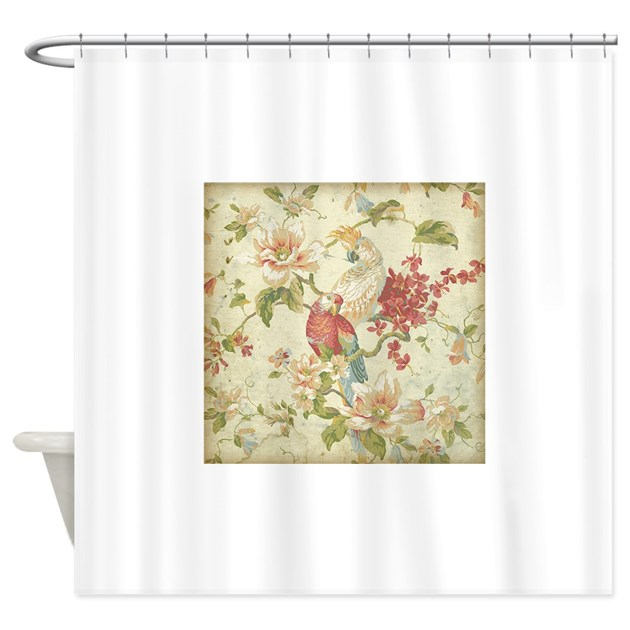 Beautiful Vintage Floral Bird Shower Curtain By