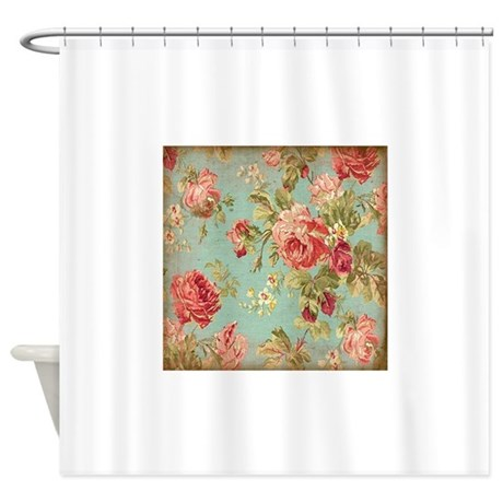 beautiful vintage rose floral shower curtain by