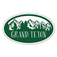 Grand Teton Rustic Mountain Green Decal