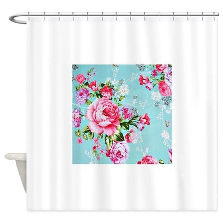 Stunningly Beautiful Vintage Pink Rose Shower Curt