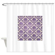 Trendy Vintage purple damask Shower Curtain