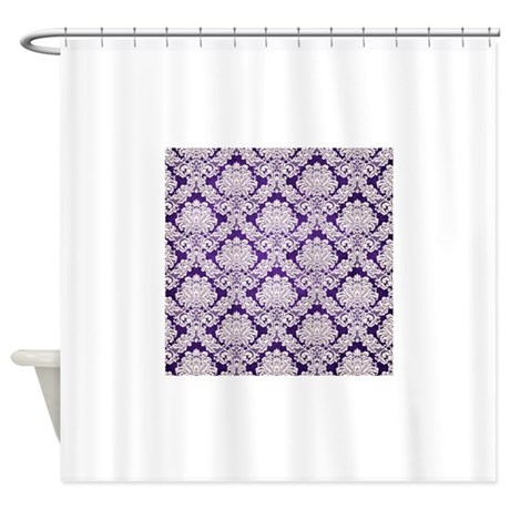 Trendy vintage purple cream damask shower curtain by Trendy curtains
