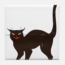 Black Cat Antique Silhouette Tile Coaster