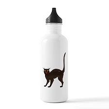 Black Cat Antique Silhouette Water Bottle