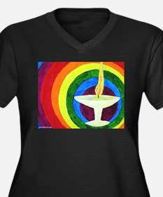 Funny Rainbow chalice Women's Plus Size V-Neck Dark T-Shirt