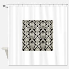 Trendy Vintage black cream damask Shower Curtain