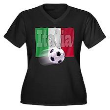 Soccer Flag Italia Women's Plus Size V-Neck Dark T