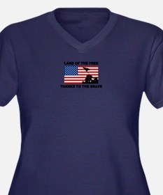 Land Of The Free Thanks To The Brave Plus Size T-S