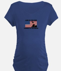 Land Of The Free Thanks To The Brave Maternity T-S