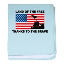 Land Of The Free Thanks To The Brave baby blanket