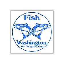 """Fish Washington the Evergre Square Sticker 3"""" x 3"""""""